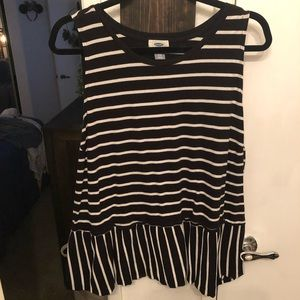 Ruffled stripe tank